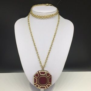 NEW Chico's Cranberry Red Enamel Pendant Necklace